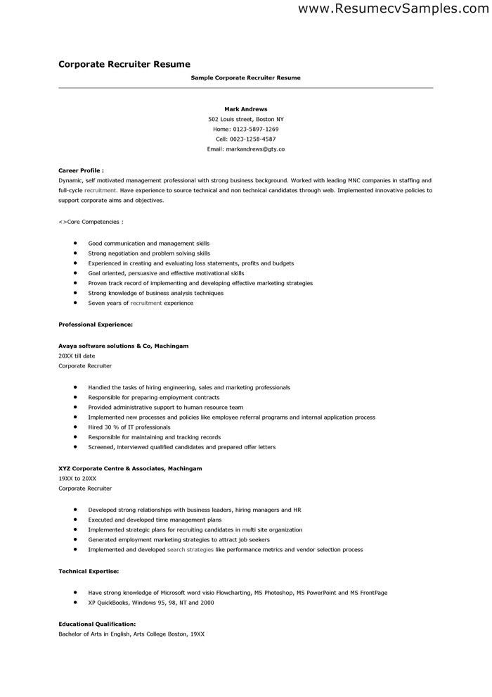 recruiter resume description Entry Level Recruiter Resume ...