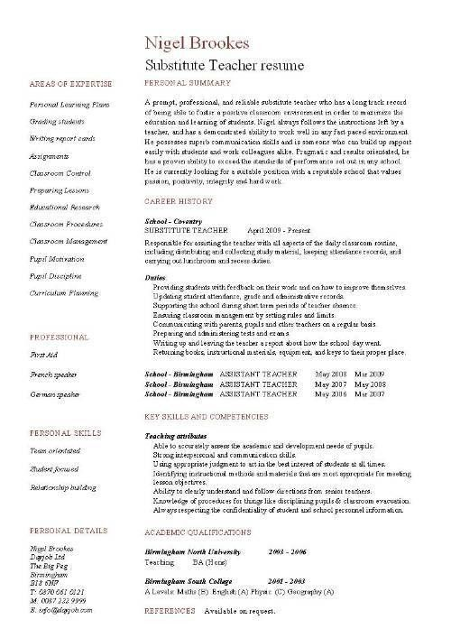 Substitute Teacher resume example, template, sample, teaching ...