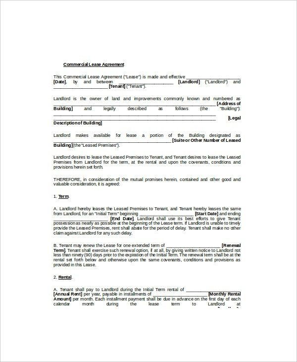 Lease Template 7+ Free Word Documents Download | Free & Premium ...