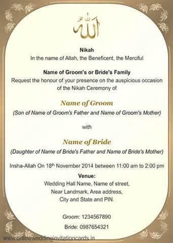 Muslim Wedding Invitation Card Format - Festival-tech.Com
