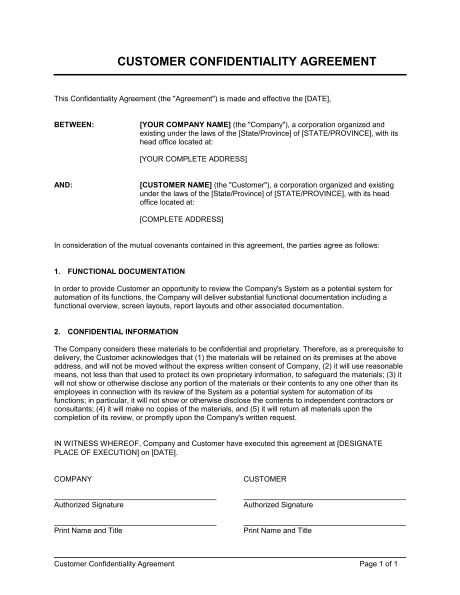 Customer Confidentiality Agreement - Template & Sample Form ...