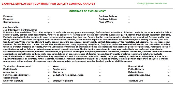 Quality Control Analyst Job Title Docs