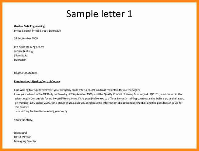 Format Of Enquiry Letter Formal Letters How To Write An Inquiry