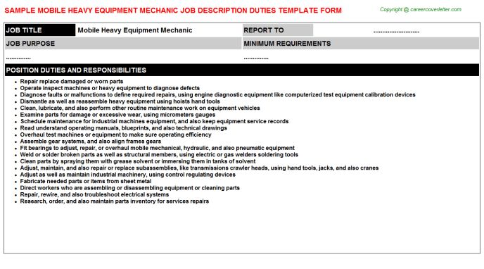 Heavy Equipment Coordinator Job Descriptions