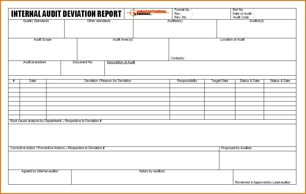 7+ internal audit report template | Job Resumes Word