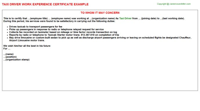Taxi Driver Work Experience Certificate