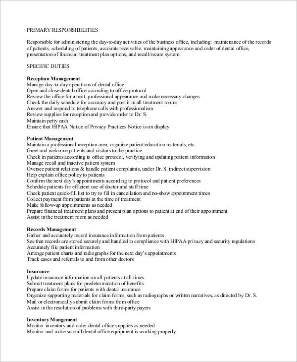 sample receptionist job description 8 examples in word pdf ...