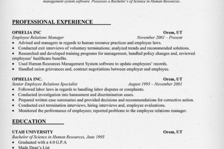 Labor And Employee Relations Resume - Reentrycorps