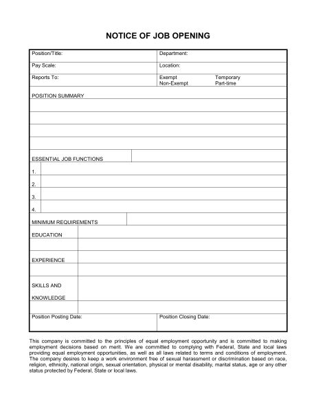 Job Description Form - Template & Sample Form | Biztree.com