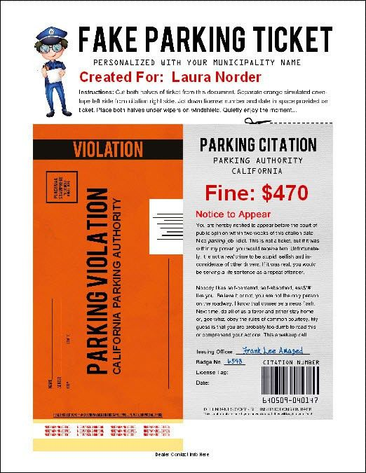 Fake Parking Ticket Software - Looks So Real, You'll Belive it!