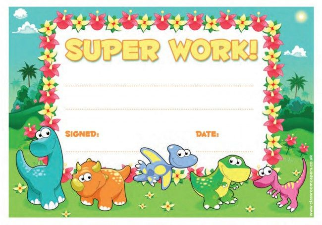 School Certificate | Super Work -30 Dinosaur Design Certificates ...