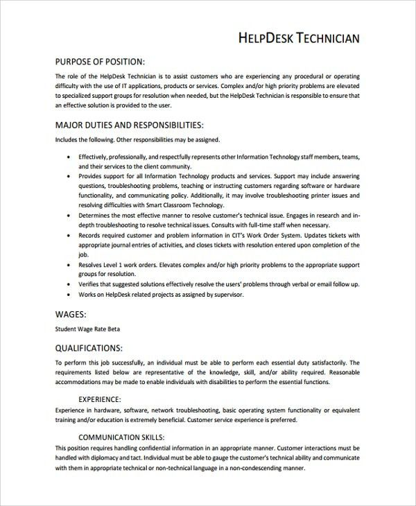 help desk technician resume - Template