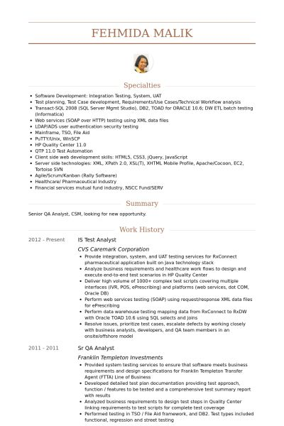 Test Analyst CV Örneği - VisualCV Özgeçmiş Örnekleri Veritabanı