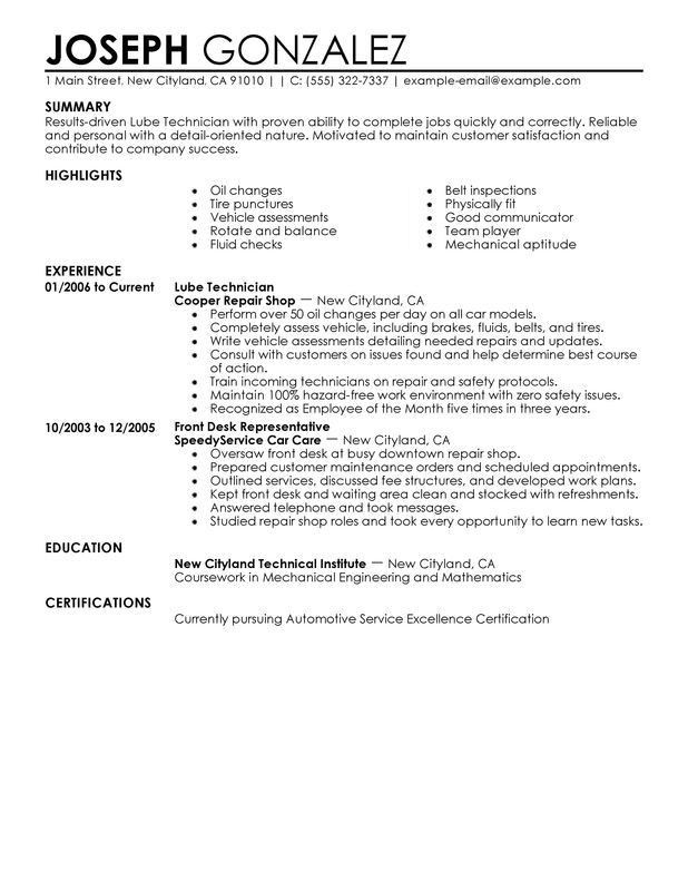 Unforgettable Lube Technician Resume Examples to Stand Out ...