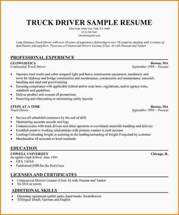 Truck Driver Resume Sample Resume Companion Free Creative Resume ...