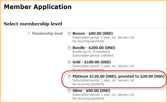 Prorating membership dues for new applications - Online help ...