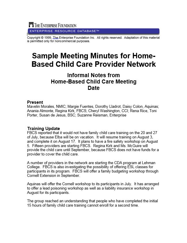 Sample Meeting Minutes from a Monthly, Home-Based Child Care ...