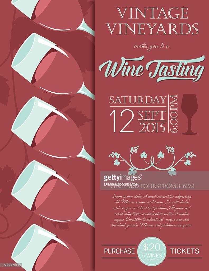 Retro Wine Tasting Event Invitation Poster Template Green Vector ...