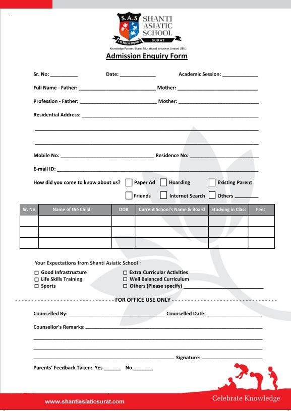 Download Admission Enquiry Form - Shanti Asiatic School Surat