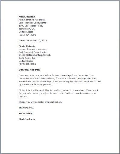 Sample Excuse Letter – Free Sample Letters