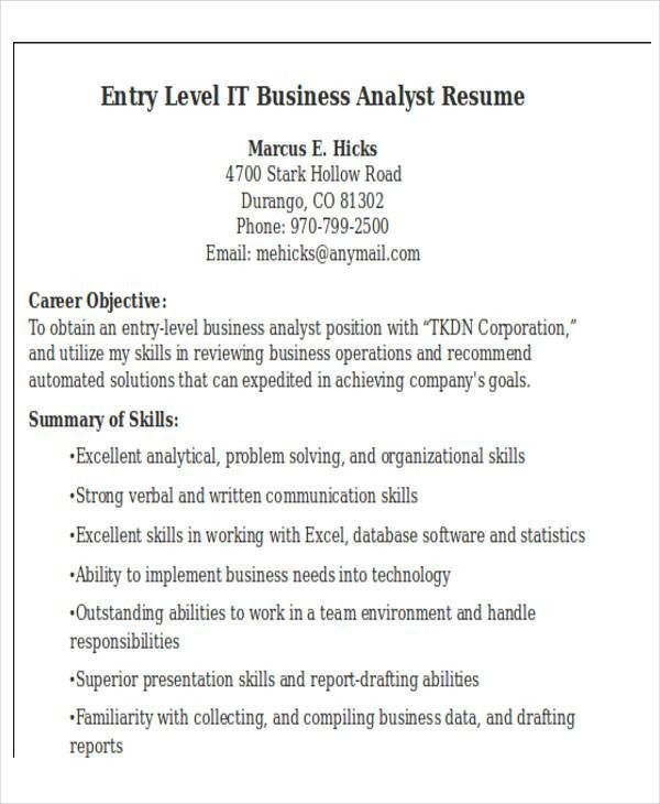 entry level business analyst resume examples