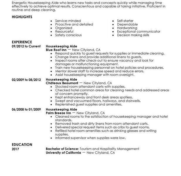 Mesmerizing Housekeeping Resume Sample 3 Unforgettable Aide ...