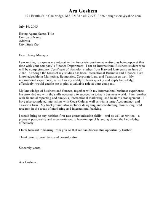 Cover Letter Sample For Internship | | jvwithmenow.com