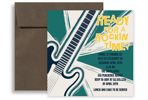 Rock And Roll Music Microsoft Word Birthday Invitation 5x5 in ...
