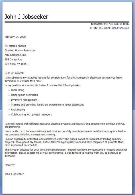 Journeyman Electrician Cover Letter Examples | electrician ...