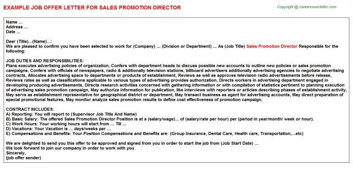 Sales Promotion Director Offer Letter