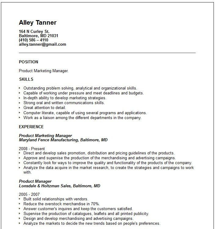 Product Marketing Manager Resume Example | EssayMafia.com
