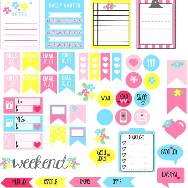 Erin Condren: Gorgeous Free Planner Addict Stickers! - Free Pretty ...