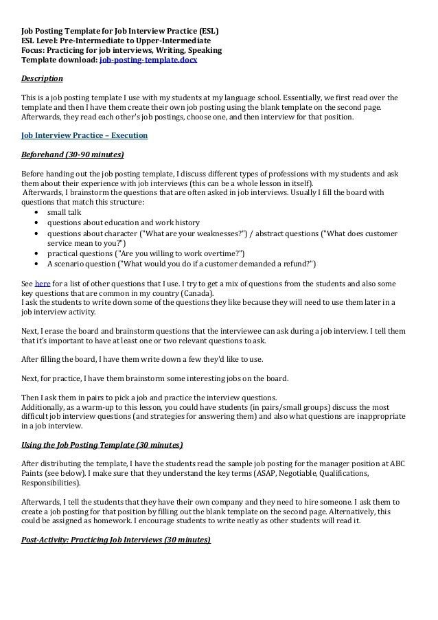 Job posting template for job interview practice