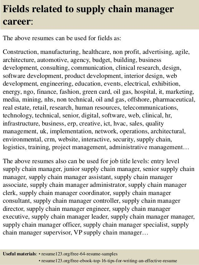 Top 8 supply chain manager resume samples