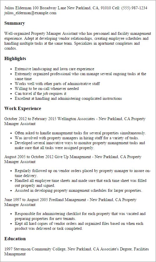 assistant property manager resume sample assistant manager resume ...