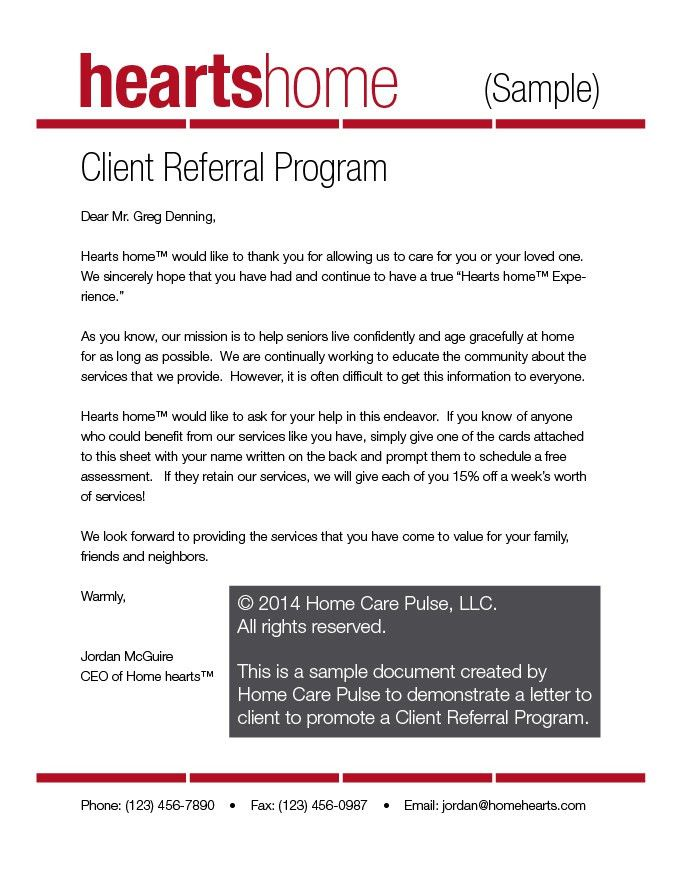Client Referral Program Letter Sample Template | Home Care Pulse