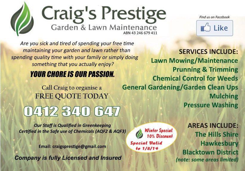 Craig's Prestige Garden & Lawn Maintenance in Kellyville, Sydney ...