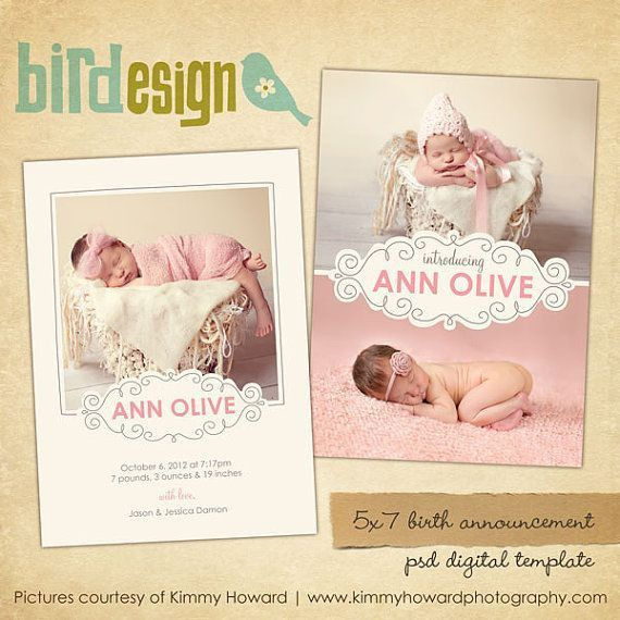 72 best birth announcement templates images on Pinterest | Births ...