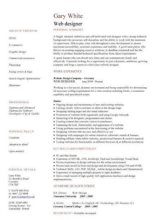 Web Design Resumes Web Designer Cv Sample Example Job Description – Web Developer Job Description