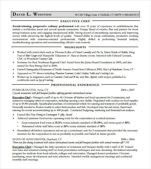 9+ Chef Resume Templates - Download Documents in PDF , Word , PSD ...