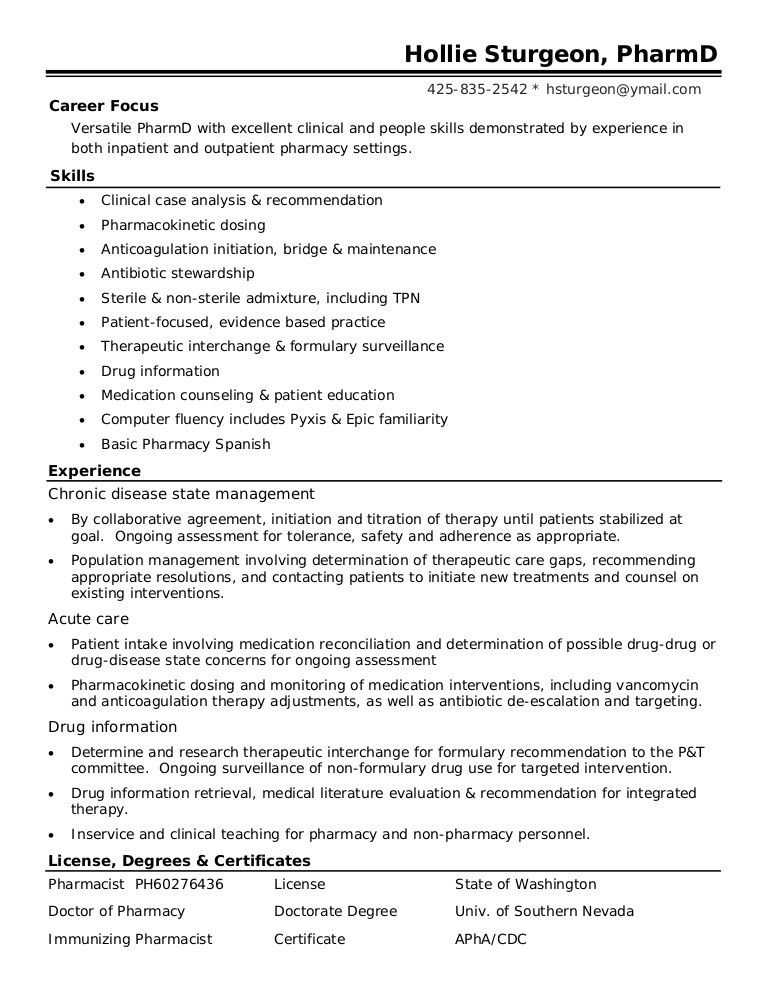 sample resume for pharmacist sample resume 2017 17 best images