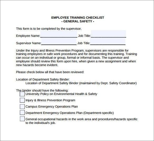 Sample Training Checklist Template. 9 Best Images Of Hotel ...