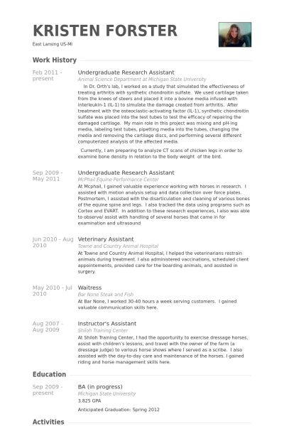 Undergraduate Research Assistant Resume samples - VisualCV resume ...