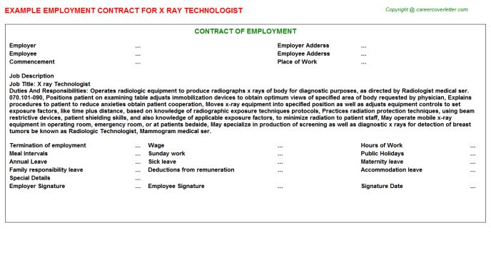 X Ray Technologist Employment Contract
