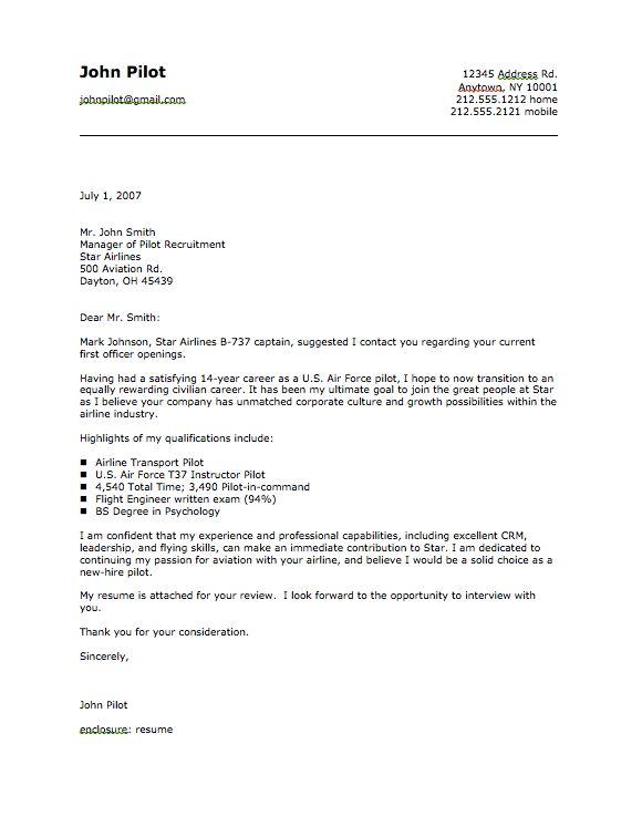 Military Pilot Cover Letter Sample - http://resumesdesign.com ...