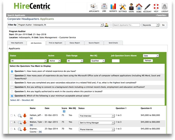 Applicant Screening Questions and Filters | HireCentric ExactHire