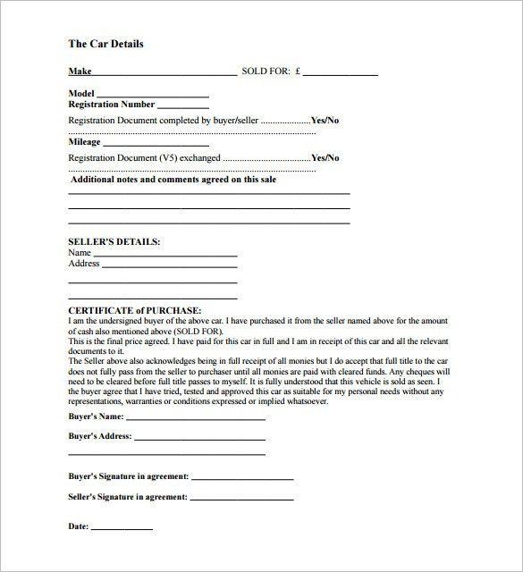 Car Sale Receipt Template – 6+ Free Word, Excel, PDF Format ...