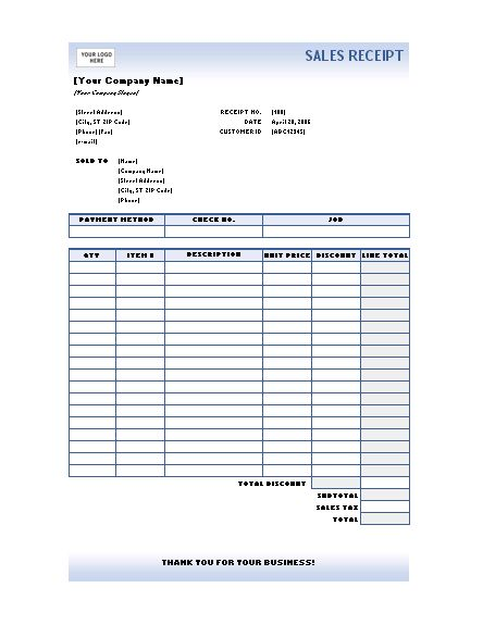 Sample Receipt | Microsoft Word Templates