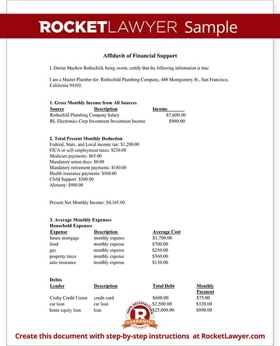 Financial Affidavit - Affidavit of Financial Support Form, Sample