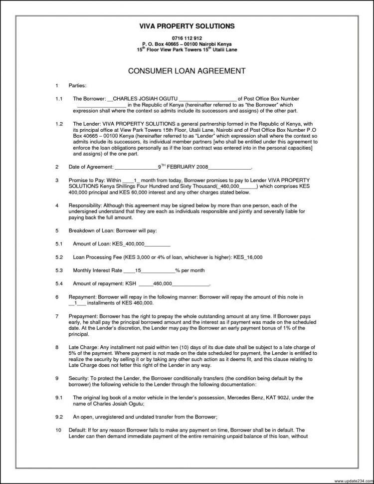 Business Agreement Template Business Loan Agreement Letter Sample ...
